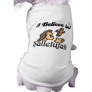 creo en hallelujah playera sin mangas para perro