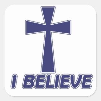 Creo en Jesús Calcomanías Cuadradass Personalizadas