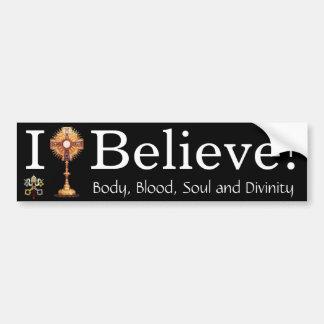 Creo en la eucaristía pegatina para auto