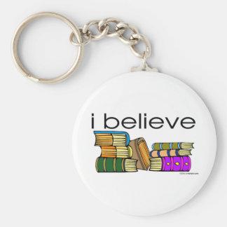 Creo en libros llavero redondo tipo pin