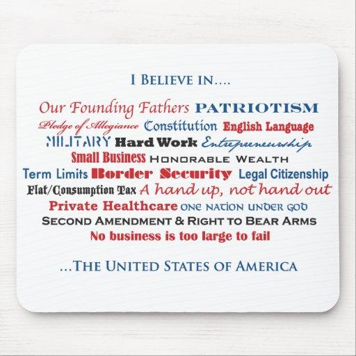 Creo en los Estados Unidos Tapetes De Raton