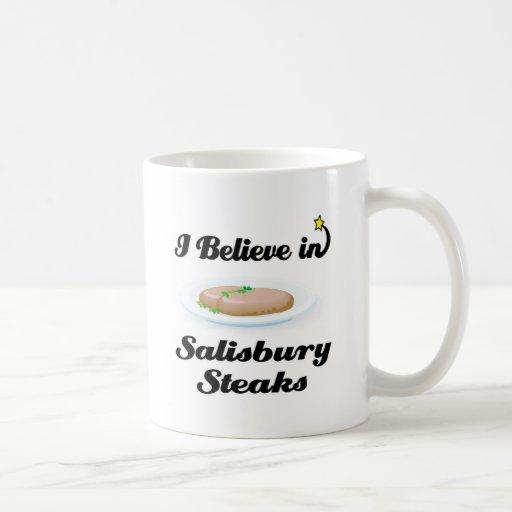 creo en los filetes de Salisbury Taza Básica Blanca