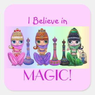 ¡Creo en magia! Muñecas grandes lindas de los Pegatina Cuadrada