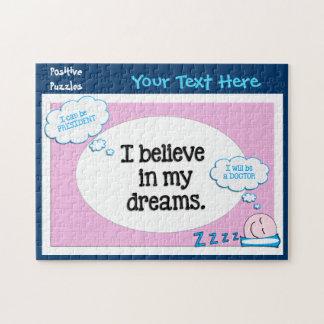 Creo en mi azul del rosa de las afirmaciones de puzzle