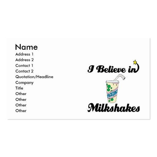 creo en milkshakes tarjetas de visita