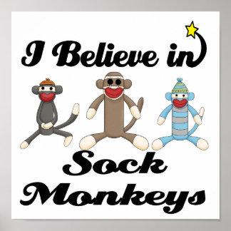 creo en monos del calcetín posters