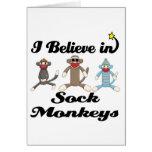 creo en monos del calcetín tarjetas