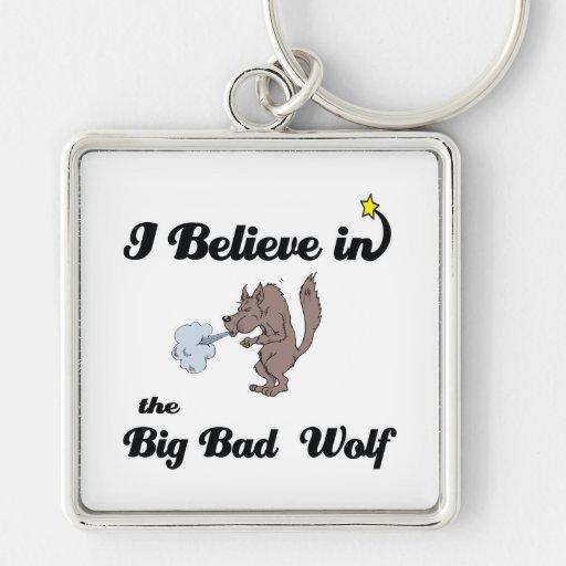 creo en mún lobo grande llavero cuadrado plateado