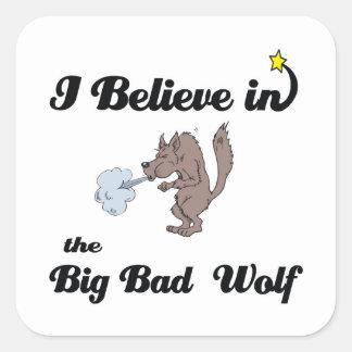 creo en mún lobo grande pegatinas cuadradas