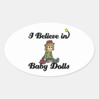 creo en muñecas del bebé pegatina ovalada
