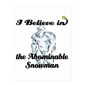 creo en muñeco de nieve abominable tarjeta postal