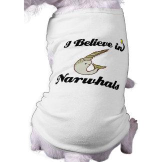 creo en narwhals playera sin mangas para perro