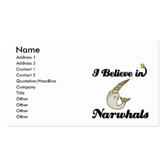 creo en narwhals tarjetas de visita
