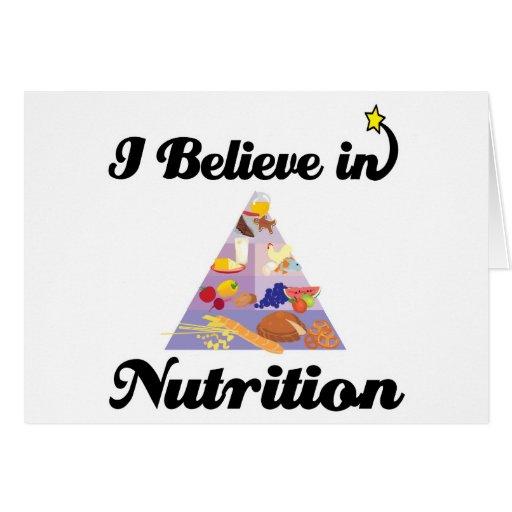 creo en nutrición tarjeta de felicitación
