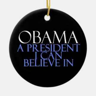 Creo en Obama Adorno Navideño Redondo De Cerámica