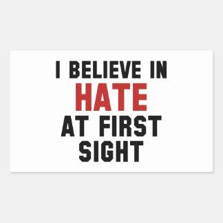 Creo en odio en la primera vista pegatina rectangular