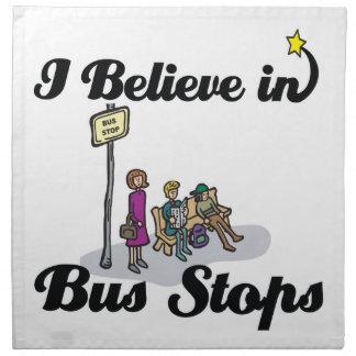 creo en paradas de autobús servilletas imprimidas