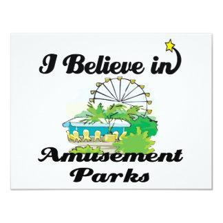 creo en parques de atracciones invitación 10,8 x 13,9 cm