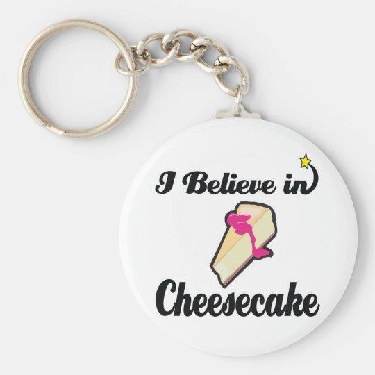creo en pastel de queso llavero redondo tipo pin
