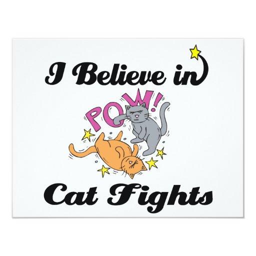 creo en peleas de gatos invitación 10,8 x 13,9 cm