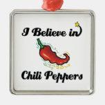 creo en pimientas de chile ornamento de navidad