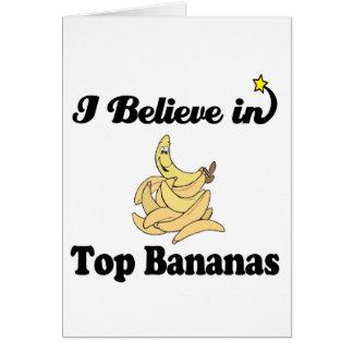 creo en plátanos superiores tarjeta de felicitación