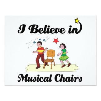 creo en sillas musicales invitación 10,8 x 13,9 cm