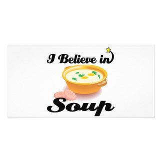 creo en sopa tarjeta fotografica personalizada