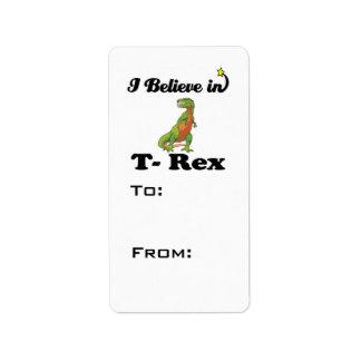 creo en t-rex etiqueta de dirección