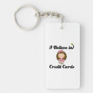 creo en tarjetas de crédito llavero rectangular acrílico a una cara