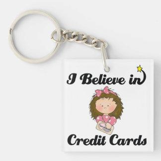 creo en tarjetas de crédito llavero cuadrado acrílico a doble cara
