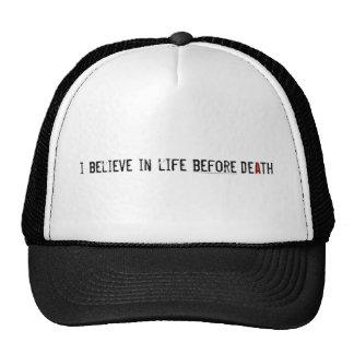 Creo en vida antes de muerte gorras