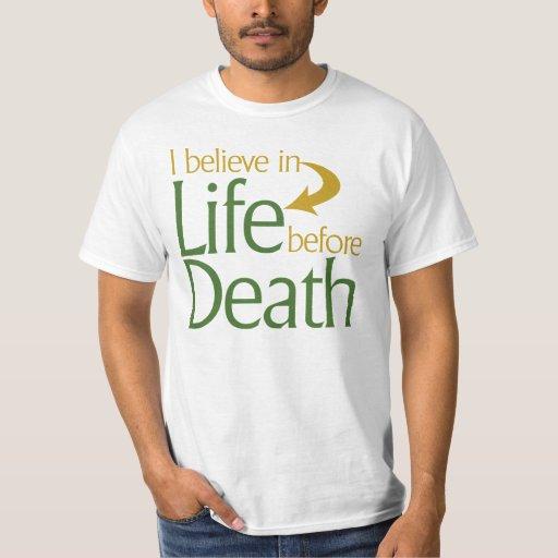 Creo en vida antes de muerte remeras