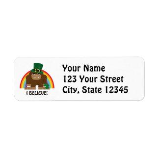 ¡Creo! Leprechaun Bigfoot Etiquetas De Remite