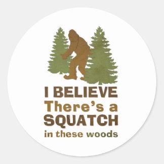 Creo que hay SQUATCH en estas maderas Pegatina Redonda