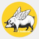 Creo - si los cerdos podrían volar etiqueta redonda