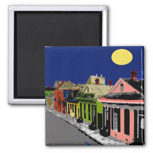 Creole Cottage New Orleans Full Moon Refrigerator Magnet