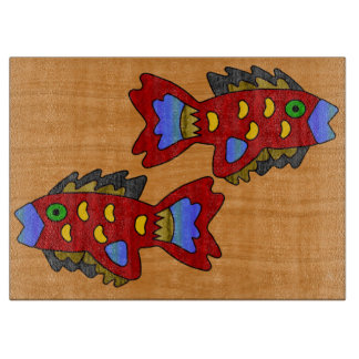 Crepe Paper Fish on Cherry Wood Cutting Board