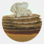 Crepes con mantequilla azotada pegatina redonda