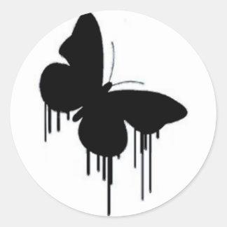 Crepes de la mariposa pegatina redonda