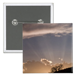 Crepuscular rays radiate across the sky at pinback button