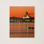 Crepúsculo anaranjado, Helsinki, Finlandia Puzzles