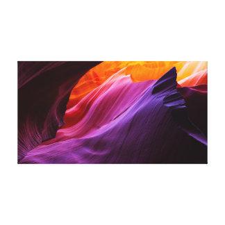 Crepúsculo ardiente - formaciones de roca del lienzo envuelto para galerías
