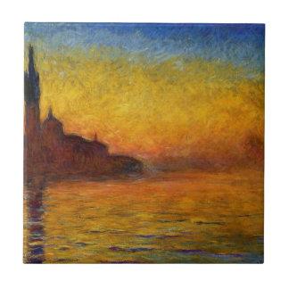 Crepúsculo de Claude Monet //Venecia Azulejo Cuadrado Pequeño