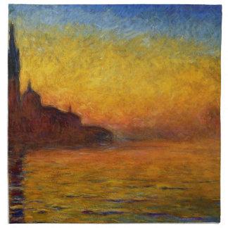 Crepúsculo de Claude Monet Venecia Servilletas
