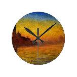 Crepúsculo de Claude Monet //Venecia Reloj Redondo Mediano