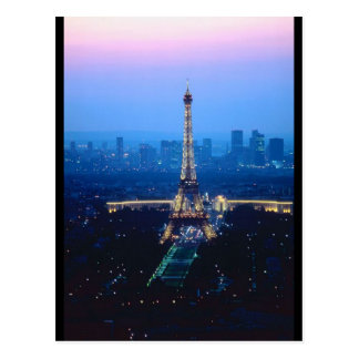 Crepúsculo de la torre Eiffel Tarjetas Postales