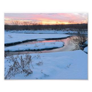 Crepúsculo del invierno en la reserva fotos
