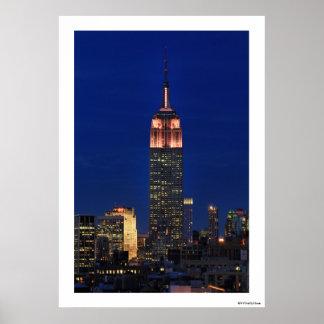 Crepúsculo: Empire State Building encendido encima Poster