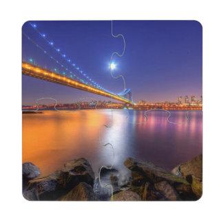 Crepúsculo, George Washington BridgePalisades, NJ. Posavasos De Puzzle